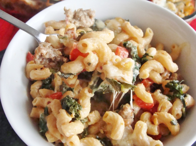 baked pasta with Italian sausage, kale, and red pepper. | The Cheesy ...